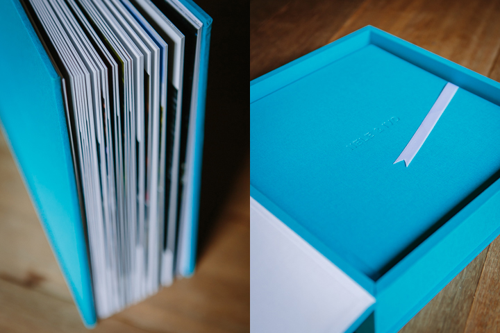 high quality lay-flat flush mount wedding album albums design linen turquoise white ribbon