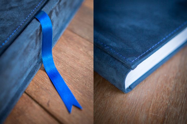 high quality lay-flat flush mount wedding album albums design blue suede blue satin ribbon