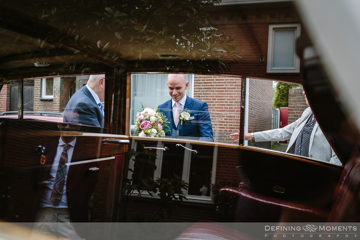 award-winning surrey documentary wedding photographer documentary natural stylish contemporary wedding photography wedding arrival groom