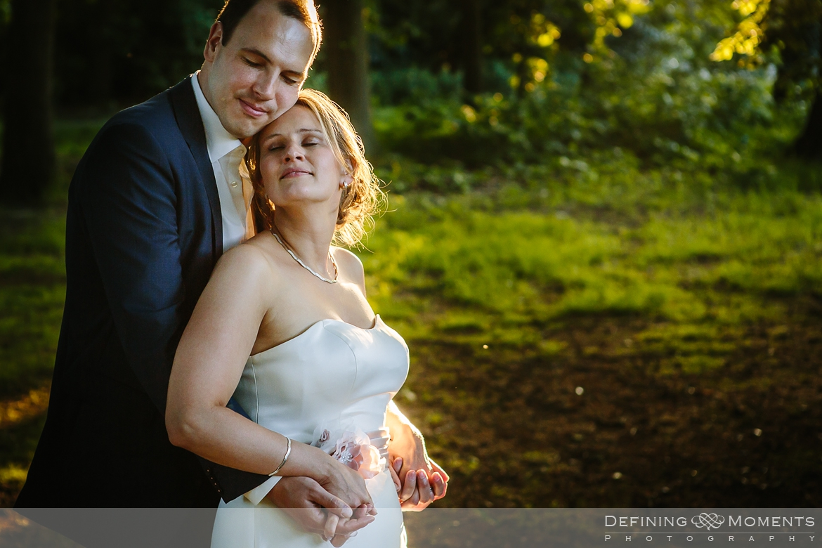 award-winning surrey documentary wedding photographer documentary natural stylish contemporary wedding photography outdoor portrait session bride groom golden hour