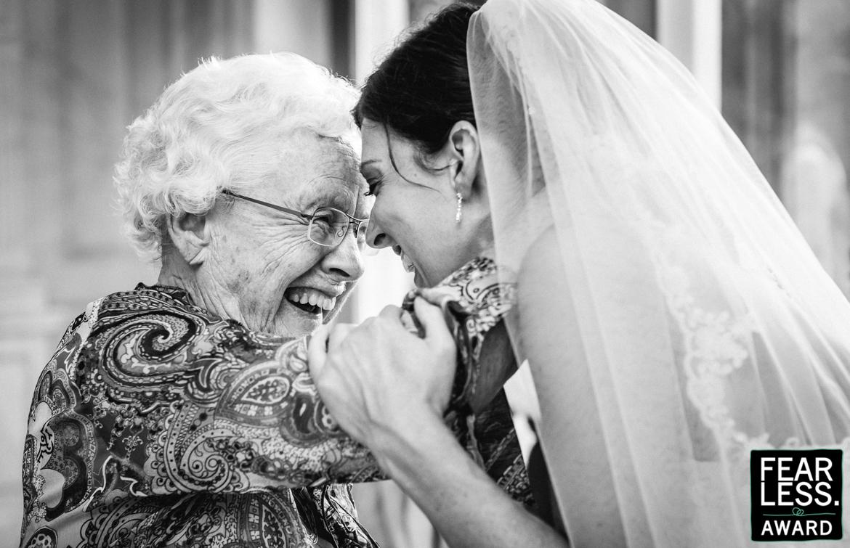 fearless wedding photography award grandma nan bride embrace hug black_white