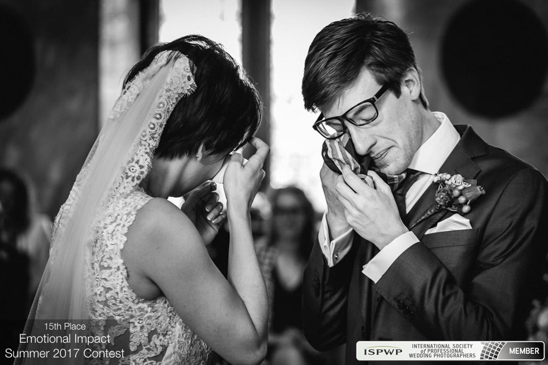 international_society_of_professional_wedding_photographers award photo bride groom tears happiness emotion emotional impact ceremony handkerchief drying dry eye eyes black_white