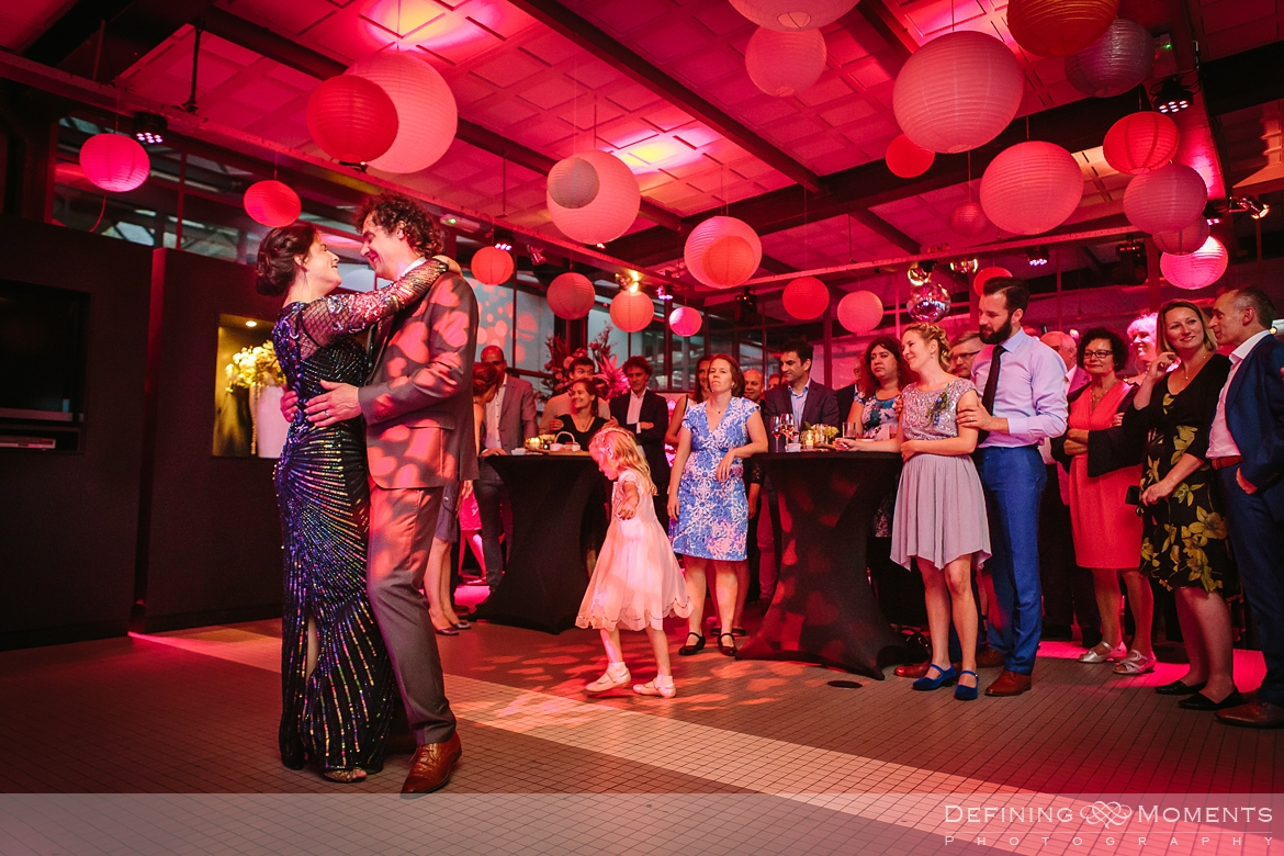 opening dance industrial wedding venue rotterdam vertrekhal award-winning surrey documentary wedding photographer natural stylish contemporary wedding photography