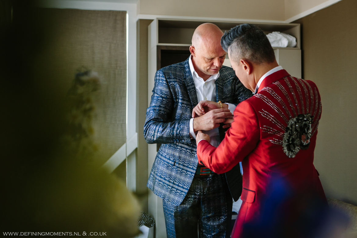 getting ready gay lgbt same_sex grooms documentary wedding photographer brighton story_telling photography surrey unique wedding chapel venue de_vere_estate wotton