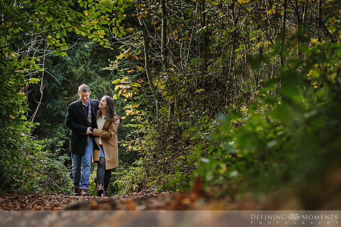 forest walk surrey hills pre-wedding shoot outdoor couple photography love engagement nature box hill documentary journalistic wedding photographer