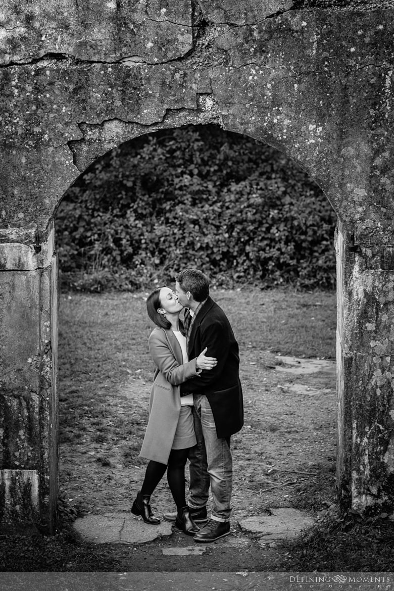 black-white fort wall surrey hills pre-wedding shoot outdoor couple photography love engagement nature box hill documentary journalistic wedding photographer