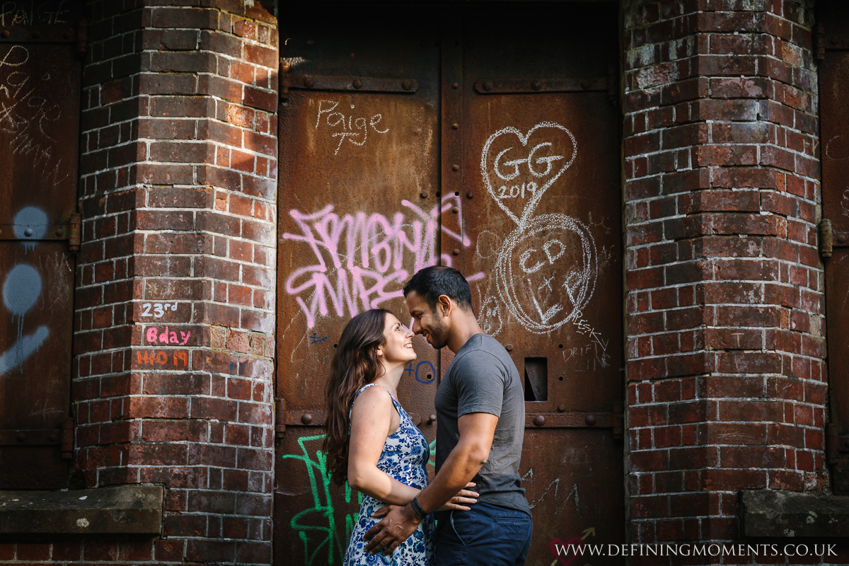 urban setting surrey couples photo session engagement love pre-wedding documentary photographer wedding proposal  shoot natural contemporary outdoor photography graffitti