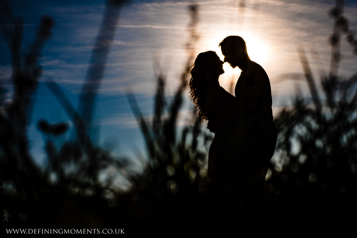sunset silhouette of engaged couple surrey couples photo session engagement love pre-wedding documentary photographer wedding proposal  shoot natural contemporary outdoor photography
