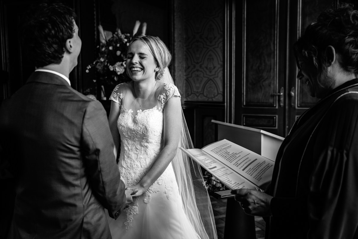 wedding ceremony bride groom smiling smile wedding photo journalistic documentary reportage photographer photo surrey