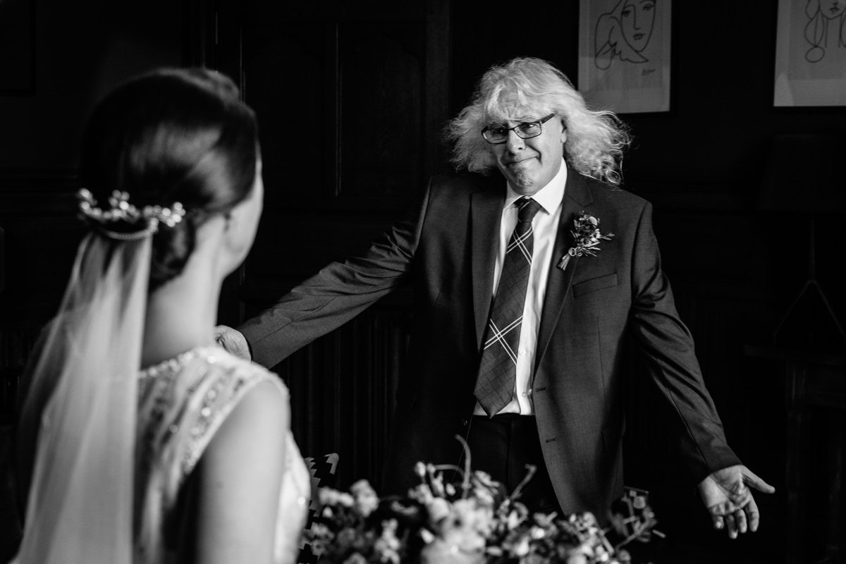father_of_the_bride first look bride wedding party photo journalistic documentary reportage photographer photo surrey