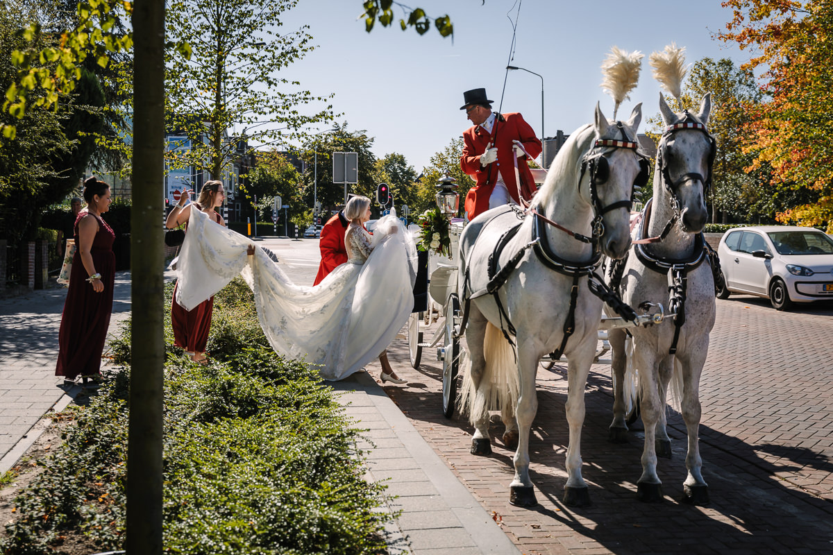 bride horse horses carriage wedding dress photo journalistic documentary reportage photographer photo surrey
