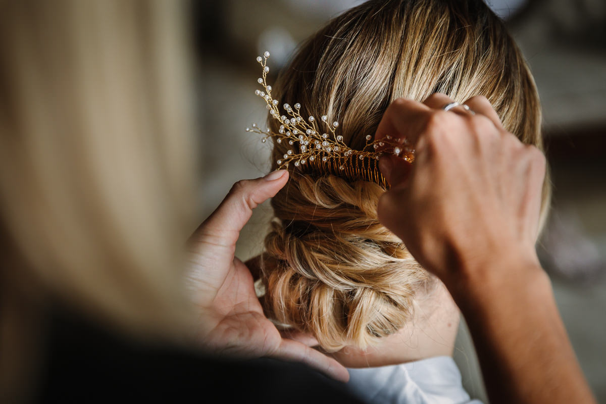 wedding preps hair piece bride pearls journalistic documentary reportage photographer photography photo surrey
