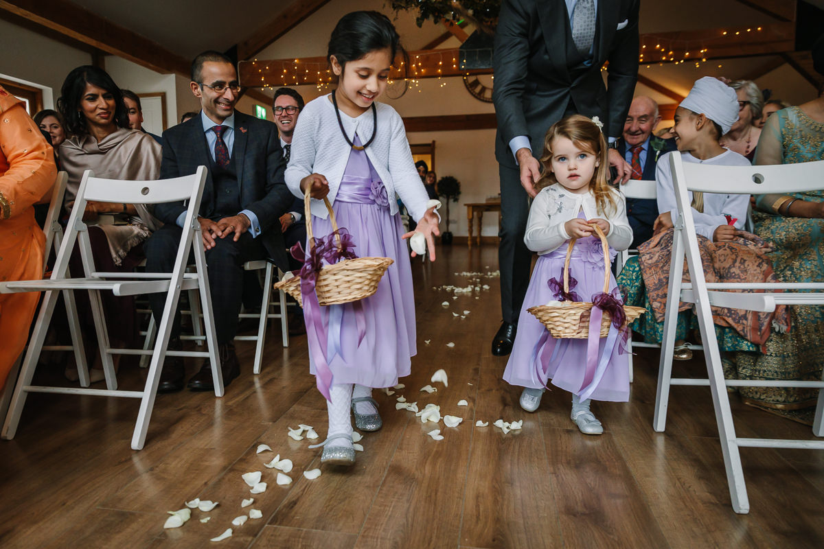 flower girls petals ceremony purple dress journalistic documentary reportage photographer photography photo surrey